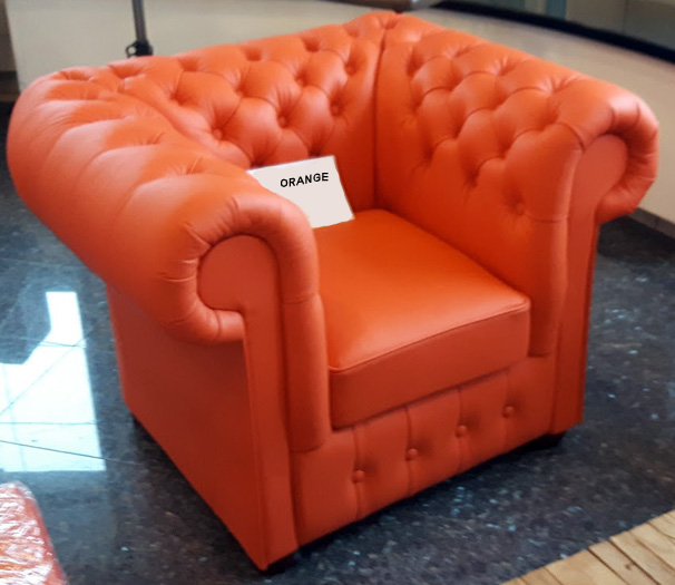 Chesterfield Klassik leder Sitzgarnitur 3+1+1 Orange (K6)