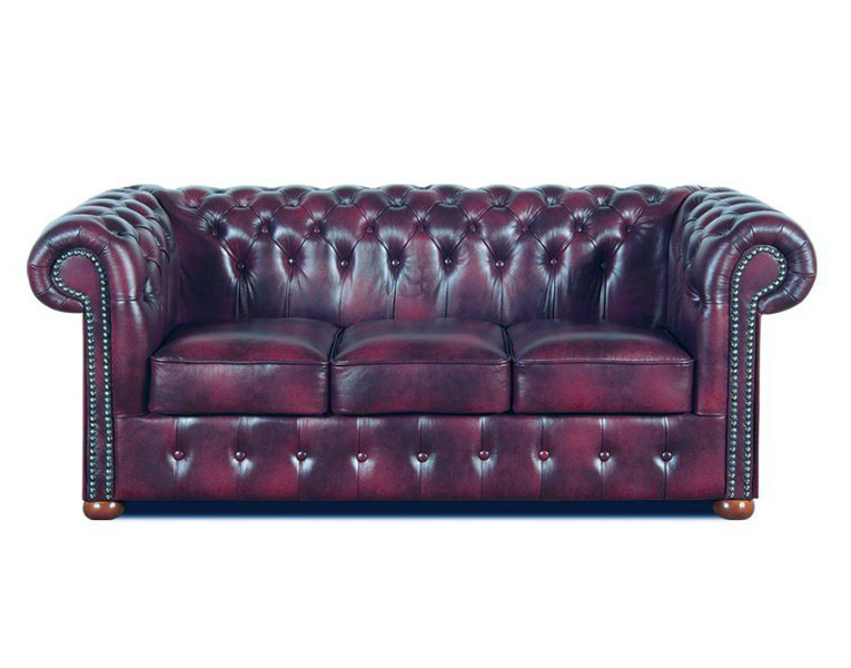 Chesterfield Classic 3 sitzer Ledersofa Weinrot (A7)