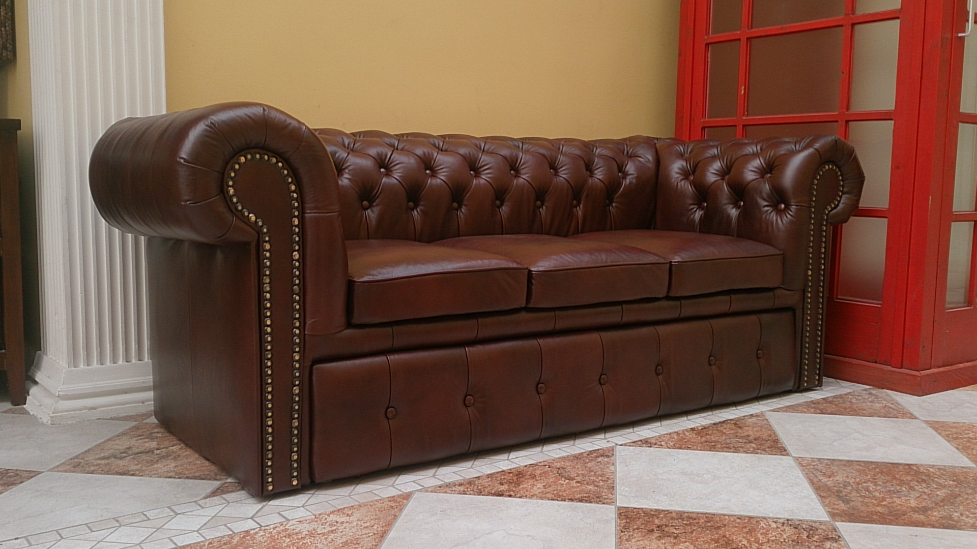 chesterfield klassik 3er schlafsofa a4 dunke. Black Bedroom Furniture Sets. Home Design Ideas