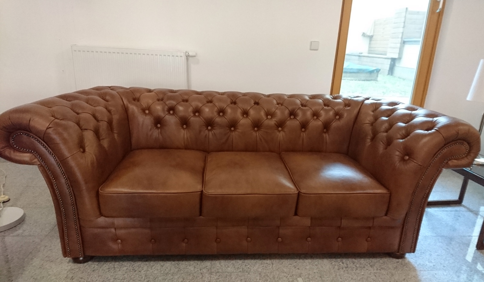 Chesterfield Windchester Sofagarnitur 321 Volleder Antikgold