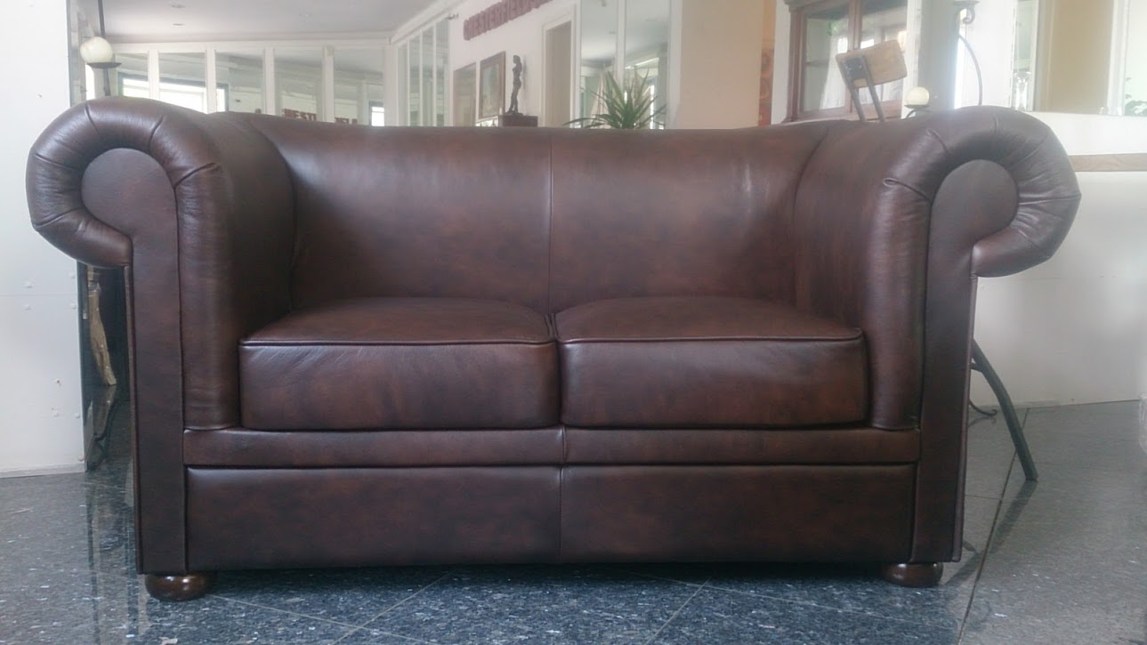 Chesterfield London 2 sitzer Ledersofa Antikbraun (A5)