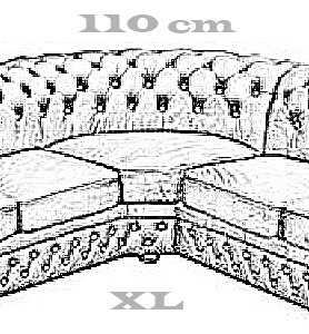 Chesterfield Windsor 2+2 Ecksofa 220x220 Antikbraun (A5)