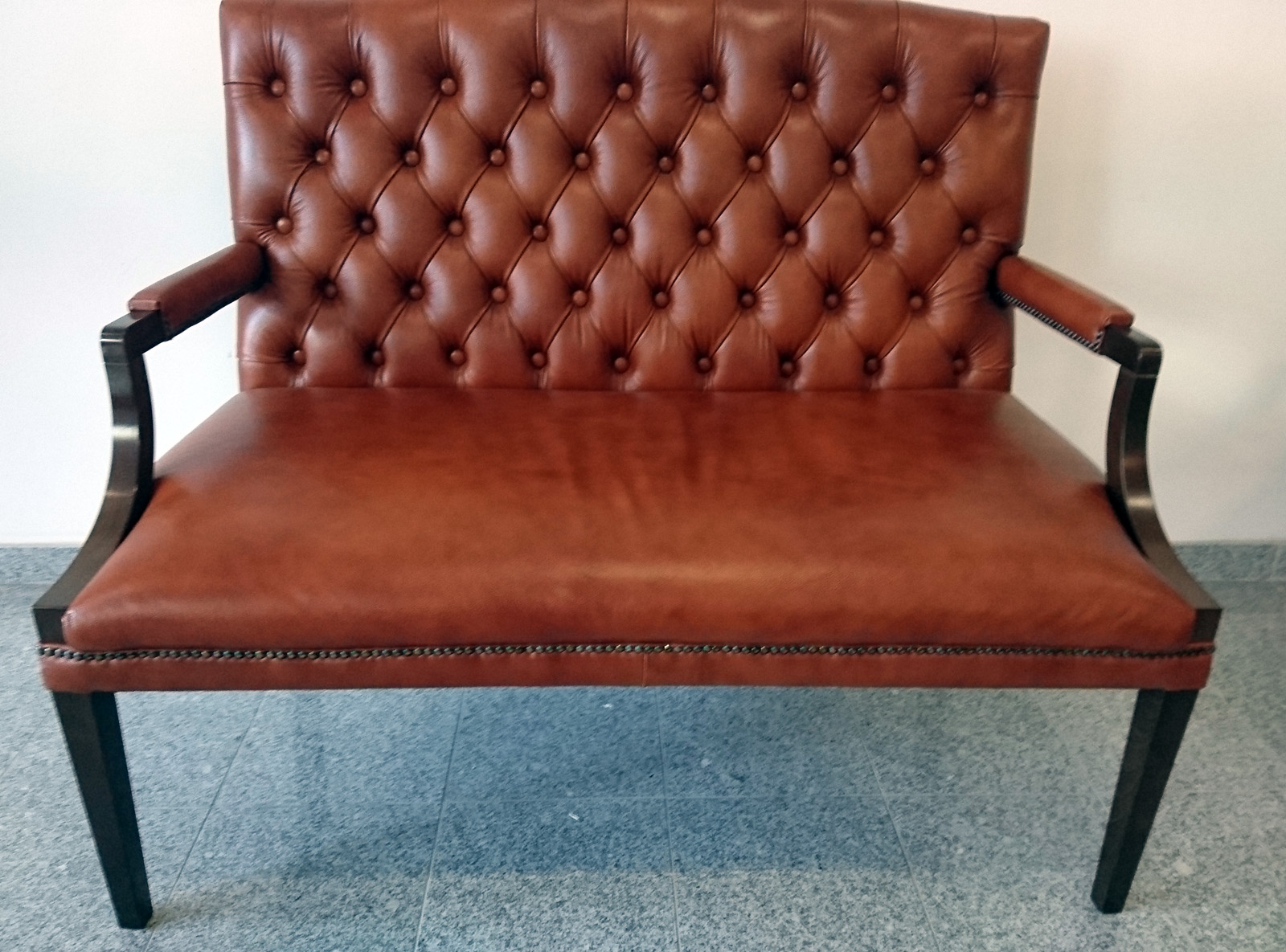 Chesterfield King 2 sitzer Ledersofa hazelnut (C12)