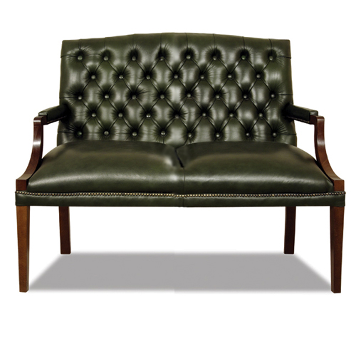Chesterfield King 2 sitzer Ledersofa Antikgrün (A8)