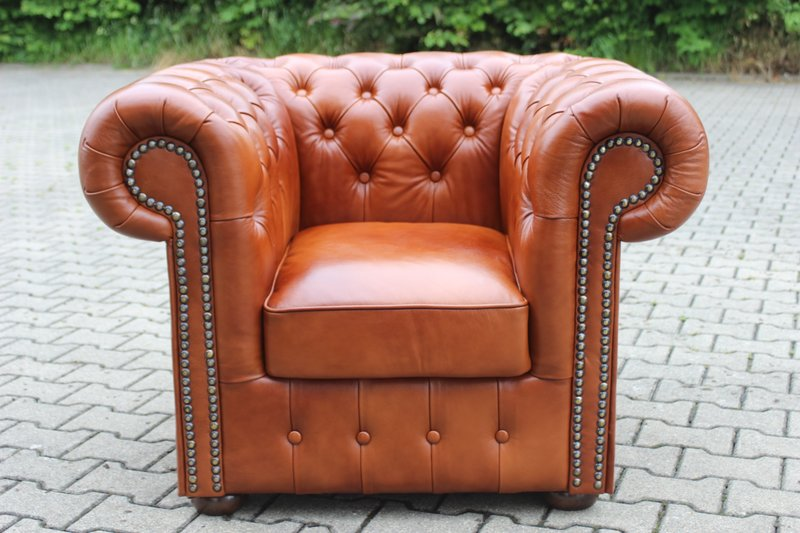 Chesterfield Klassik Sessel Hazelnut (C12)