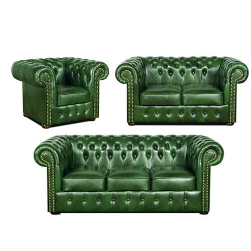 chesterfield klassik leder sitzgarnitur 3 2 1 antikgr n a8. Black Bedroom Furniture Sets. Home Design Ideas