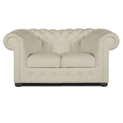 Chesterfield Classic 2-Sitzer Ledersofa off-weiss (K2)