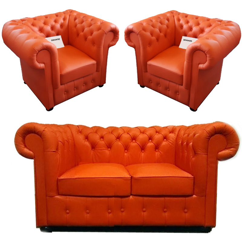 Chesterfield Klassik leder Sitzgarnitur 2+1+1 Orange (K6)