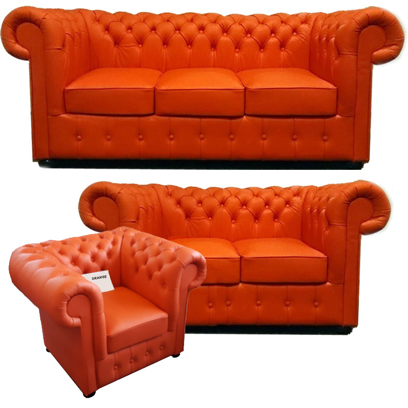 Chesterfield Klassik leder Sitzgarnitur 3+2+1 Orange (K6)