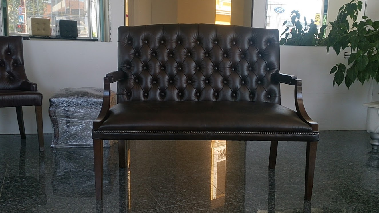 Chesterfield King 2 sitzer Ledersofa Antikbraun (A5)