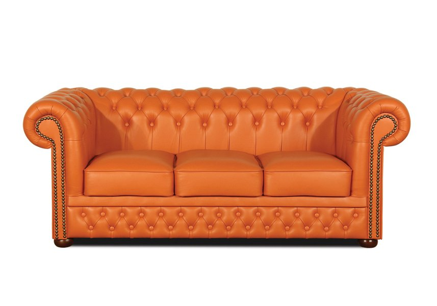 Chesterfield Lord 3 sitzer Ledersofa Orange