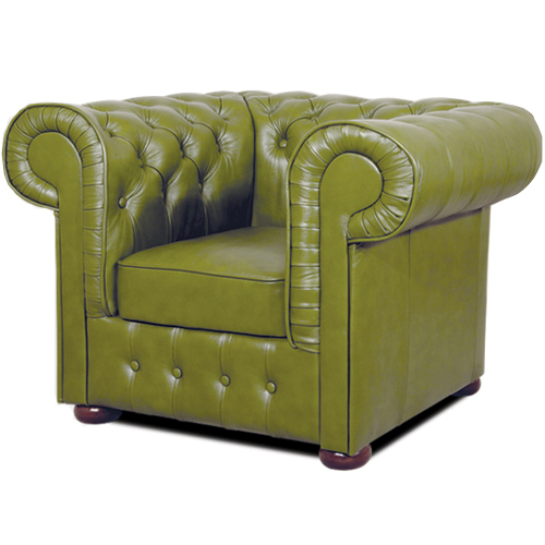 Chesterfield Mark Ledersessel Olivegrun