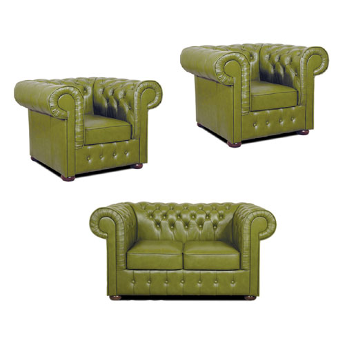 Chesterfield Mark leder Sitzgarnitur 2+1+1 Olive