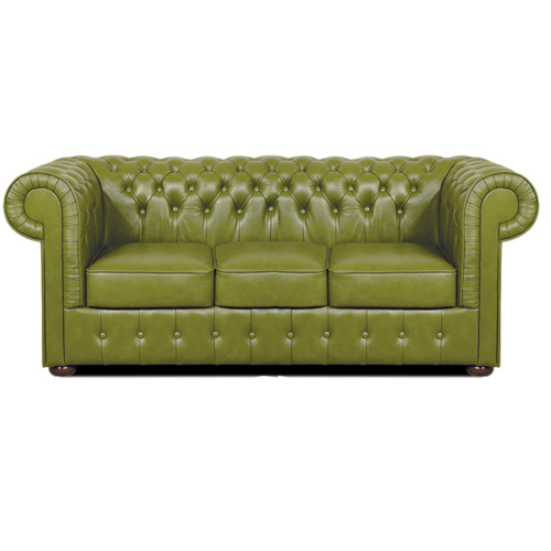Chesterfield Mark 3 sitzer Ledersofa Olive