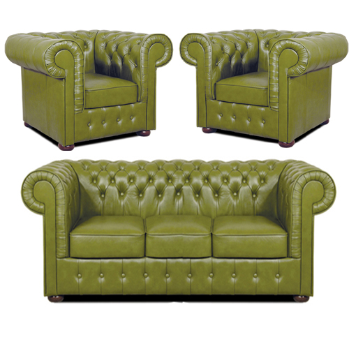 Chesterfield Mark leder Sitzgarnitur 3+1+1 Olive
