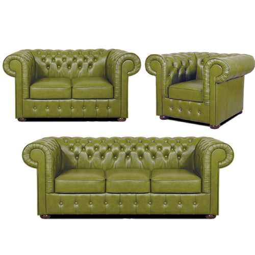 Chesterfield Mark leder Sitzgarnitur 3+2+1 Olive