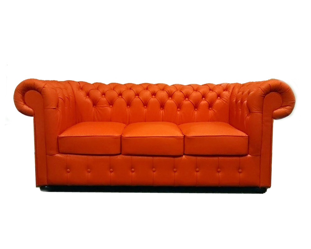 Chesterfield Classic 3 sitzer Ledersofa Orange K6