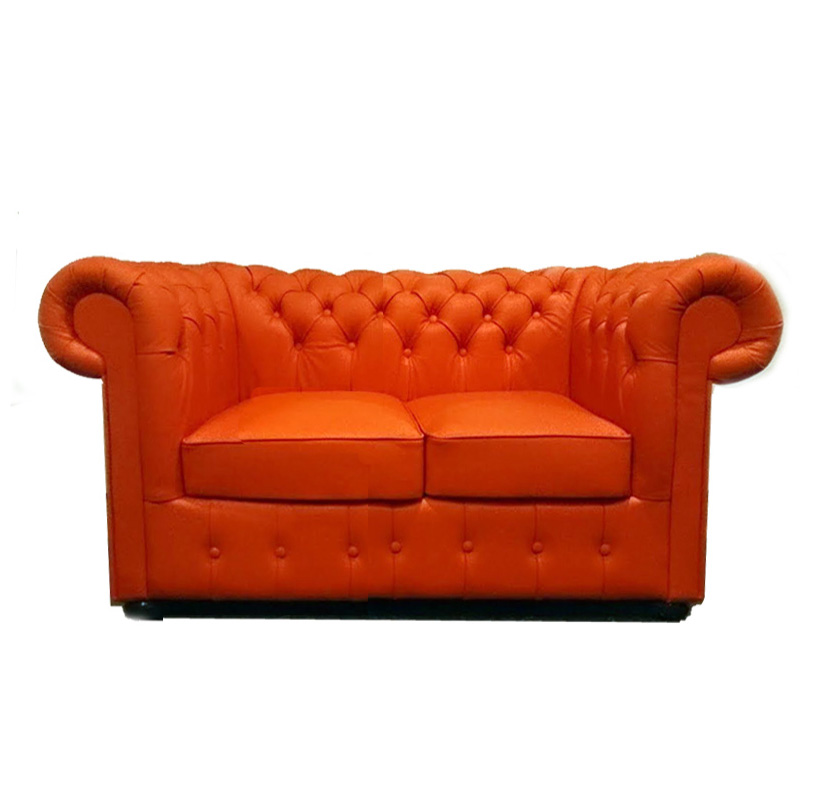 Chesterfield Classic 2-Sitzer Ledersofa Orange (K6)