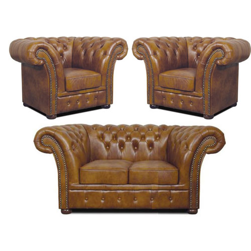 Chesterfield Windchester Ledergarnitur 211 Antikgold (S12
