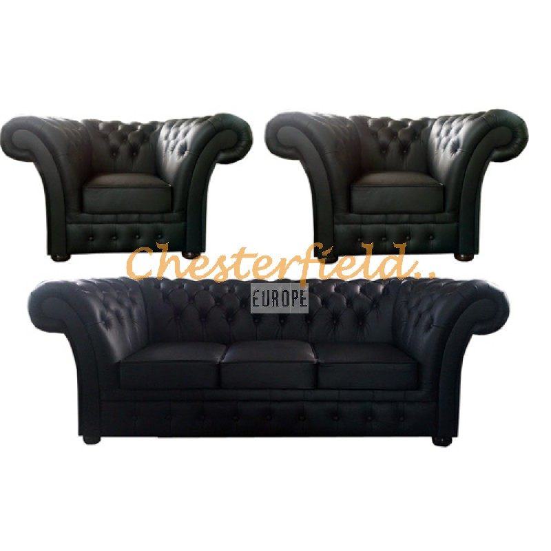 Chesterfield Windchester Ledergarnitur 3+1+1 schwarz (K70)