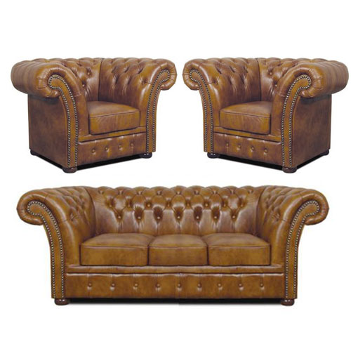 Chesterfield Windchester leder Sitzgarnitur 3+1+1 Antikgold (S12