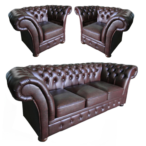 Chesterfield Windchester leder Sitzgarnitur 3+1+1 Antikbraun (A5