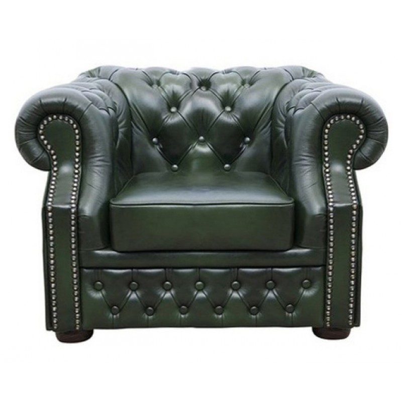 Chesterfield Windsor Sessel Antikgrun (A8)