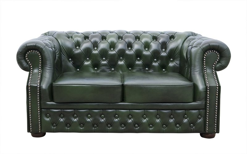 Chesterfield Windsor 2 sitzer Ledersofa Antikgrün (A8)