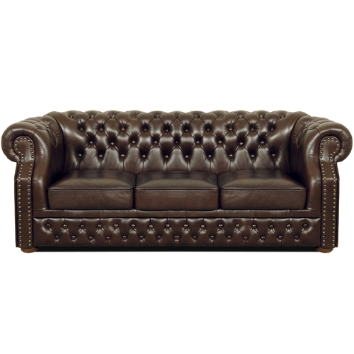 Chesterfield Windsor 3 sitzer Ledersofa Antikbraun (A5)