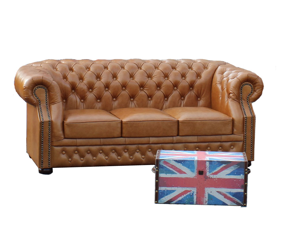 Chesterfield Windsor 3 sitzer Ledersofa Hazelnut (C12)