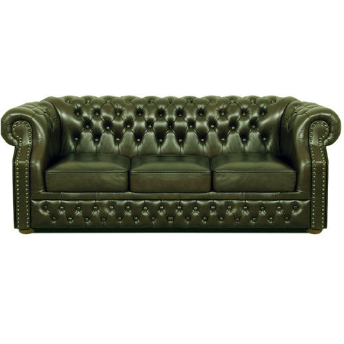 Chesterfield Windsor 3 sitzer Ledersofa Antikgrün (A8)