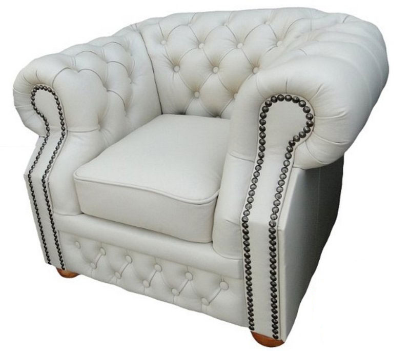 Chesterfield Windsor Sessel Off White (K2)